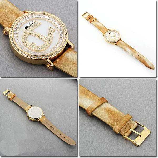 Smays Fashion Watch Zircon Material Crystal Mirror Surface Golden Leather Watchband for Ladies