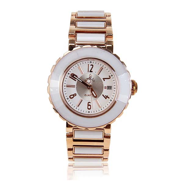 Smays Fashion Women's Watch Japan Movt Quartz Dial White and Golden Watchband