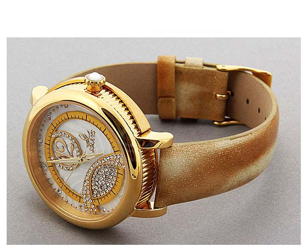 Smays Fashion Women's Watch Japan Movt Quartz Dial Golden Leather Watchband