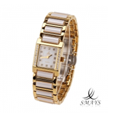 Smays Fashion Women\'s Watch Japan Movt Quartz Dial White and Golden Watchband