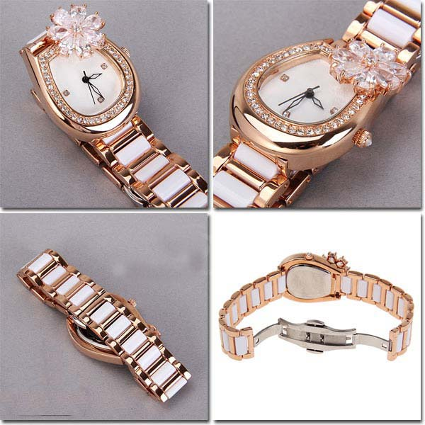 Smays Fashion Women's Watch Japan Movt Quartz Dial White and Champagne Watchband