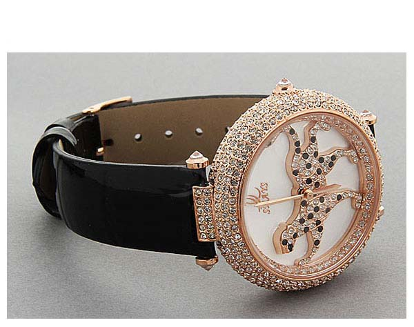 Smays Fashion Women's Watch Leopard Patterned Japan Movt Quartz Dial Black Leather Watchband