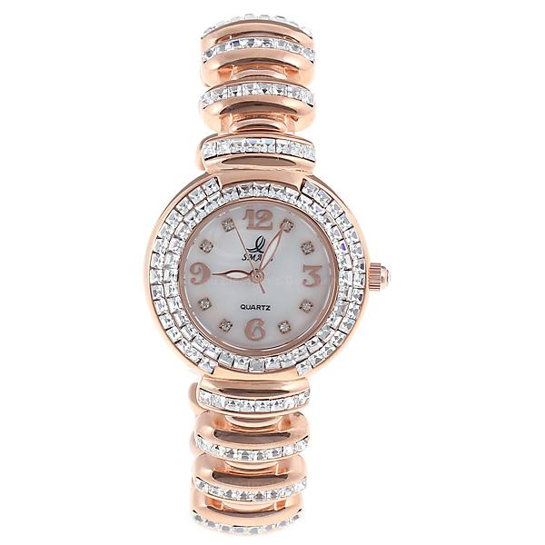 Smays Golden Zircon Material Crystal Mirror Surface Steel Watchband Fashion Watch for Female