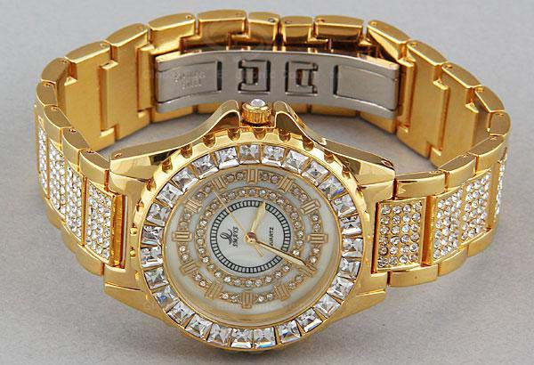 Smays Luminous Golden Zircon Material Crystal Mirror Surface Steel Watchband Fashion Watch