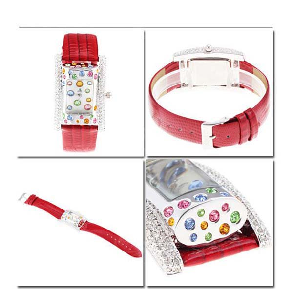 Smays Red Zircon Material Crystal Mirror Surface Genuine Leather Watchband Fashion Female Watch