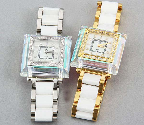Smays Silver & White Zircon Material Crystal Mirror Surface Steel & Ceramic Watchband Watch