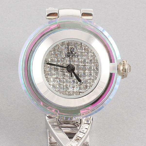 Smays Silver Zircon Material Crystal Mirror Surface Steel Watchband Fashion Watch for Ladies