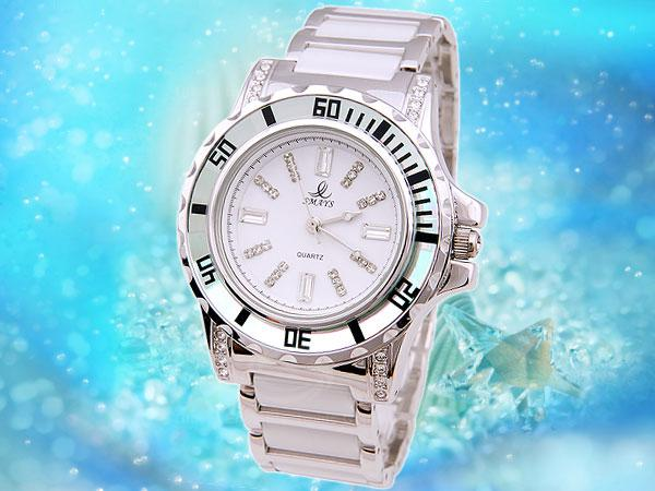 Smays Silver Zircon Material Crystal Mirror Surface Steel & Ceramic Watchband Fashion Watch