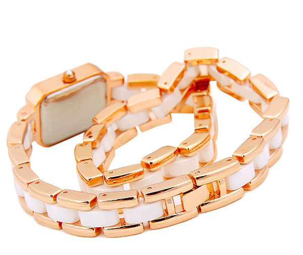 Smays Fashion Long - Strap Watch Zircon Material Crystal Mirror Surface Golden Steel & Ceramic