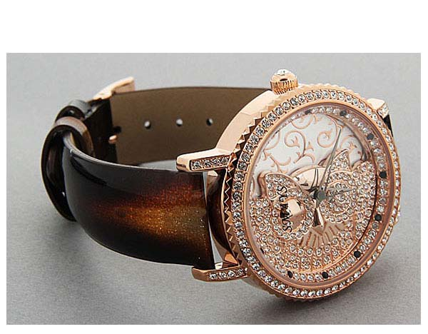 Smays Fashion Watch Owl Patterned Zircon Material Crystal Mirror Surface Black Leather Watchband