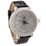 Smays Fashion Watch Zircon Material Crystal Mirror Surface Black Leather Watchband for Female
