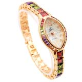Smays Fashion Watch Zircon Material Crystal Mirror Surface Golden Copper Watchband for Female