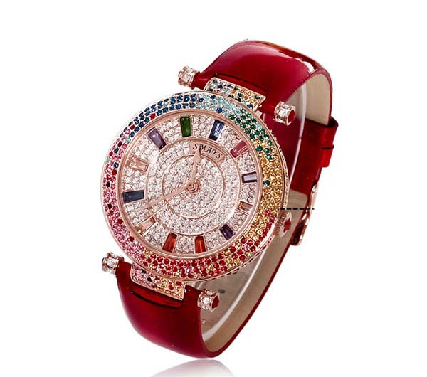 Smays Fashion Watch Zircon Material Crystal Mirror Surface Red Genuine Leather Watchband for Fem