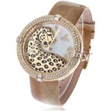Smays Fashion Watch Zircon Material Crystal Mirror Surface Golden Genuine Leather Watchband Lady