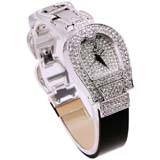 Smays Fashion Watch Zircon Material Crystal Mirror Surface Black Steel & Leather Watchband Lady