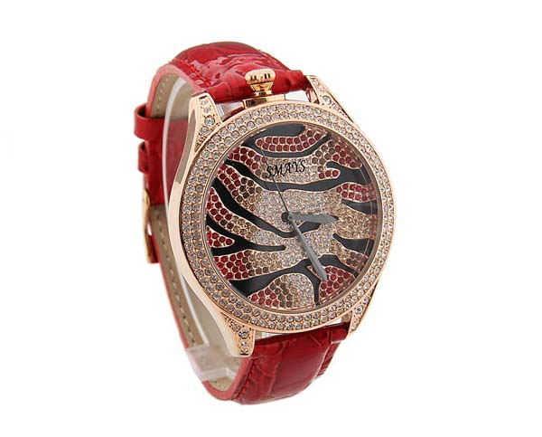 Smays Fashion Women's Watch Japan Movt Quartz Dial Red Leather Watchband