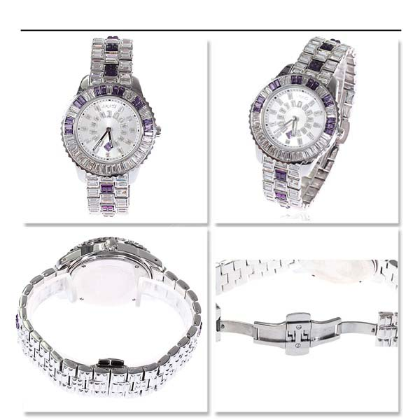 Smays Purple Zircon Material Crystal Mirror Surface Copper Watchband Fashion Watch for Female