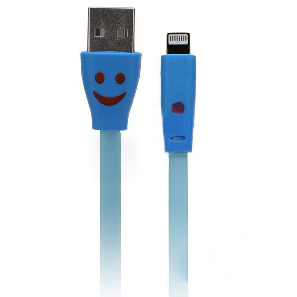 Smile Face Lightning Cable for iPhone 5/Touch 5th/Nano 7th/iPad 4/iPad Mini - 1meter -Blue