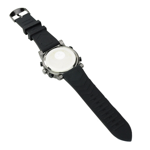 Soft Silicone Band EL Light Alarm Round Dial Electronic Movement Watch - Black