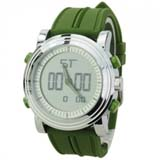 Soft Silicone Band EL Light Alarm Round Dial Electronic Movement Watch - Light green