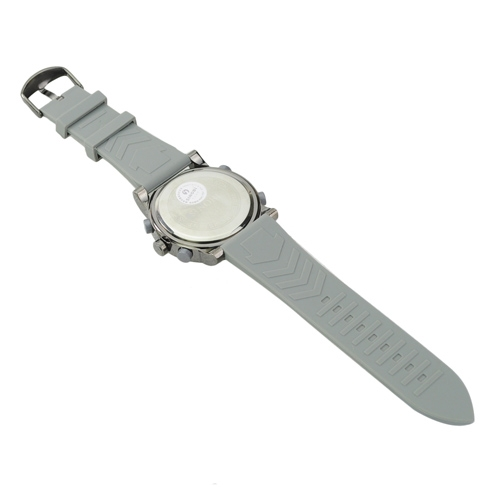 Soft Silicone Band EL Light Alarm Round Dial Electronic Movement Watch - Gray