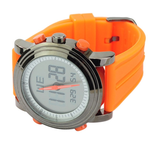 Soft Silicone Band EL Light Alarm Round Dial Electronic Movement Watch - Orange
