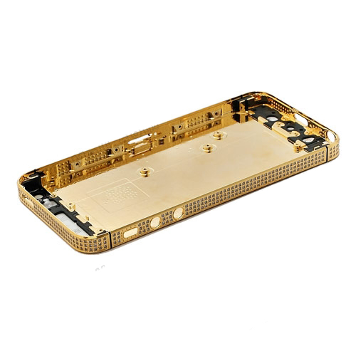 Square Back Cover Faceplates for iPhone 5 w/ Diamond Middle Frame - Gold/White