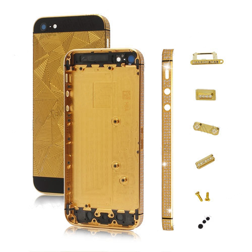 Triangle Rhinestone Edge Plating Back Cover Faceplates for iPhone 5 -Gold / Black