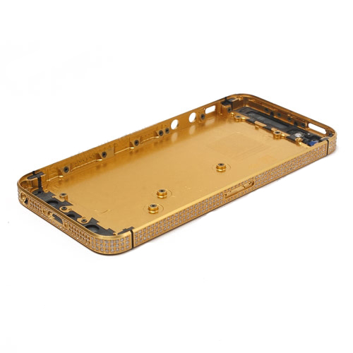 Triangle Rhinestone Edge Plating for iPhone 5 Faceplates Back Cover - Golden