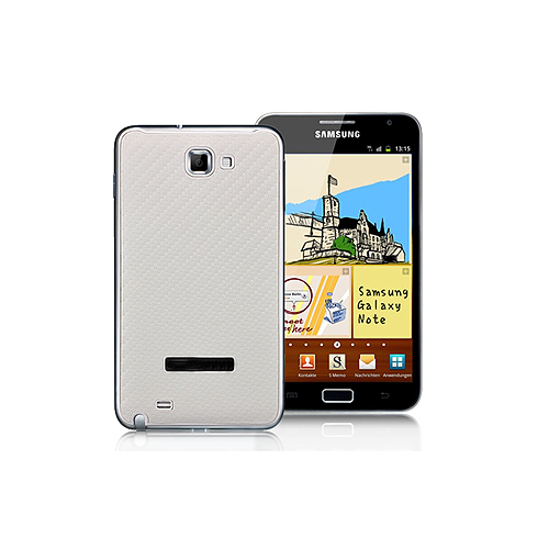 Twill Pattern Leather Battery Back Cover for Samsung Galaxy Note i9220 GT-N7000 - White