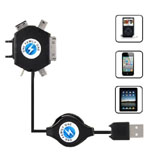 USB Retractable Charging Cable (6 Adapters) for iPhone iPod for Samsung Nokia etc.