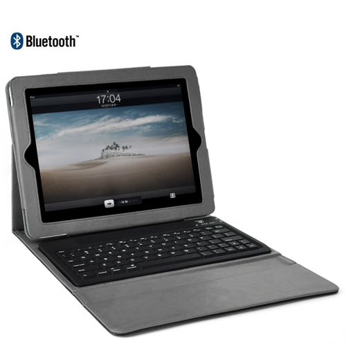 Wireless Bluetooth Keyboard With Folding Leather Case for iPad - Grey