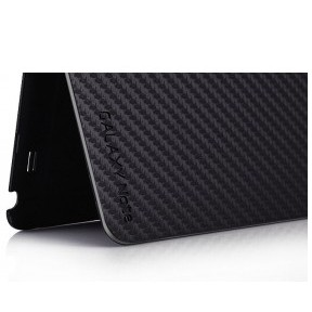 Front Flip Cover + Full Mat Texture Battery Back Cover for Samsung Galaxy Note i9220 - Black