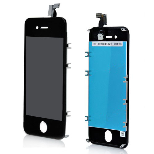 for iPhone 4S Digitizer Touch Panel LCD Display Screen +  Flex Cable + Frame - Black