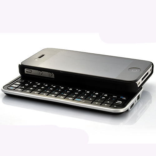 Wireless Rubberized Hard Shell Slider QWERTY Keyboard Case for iPhone 4
