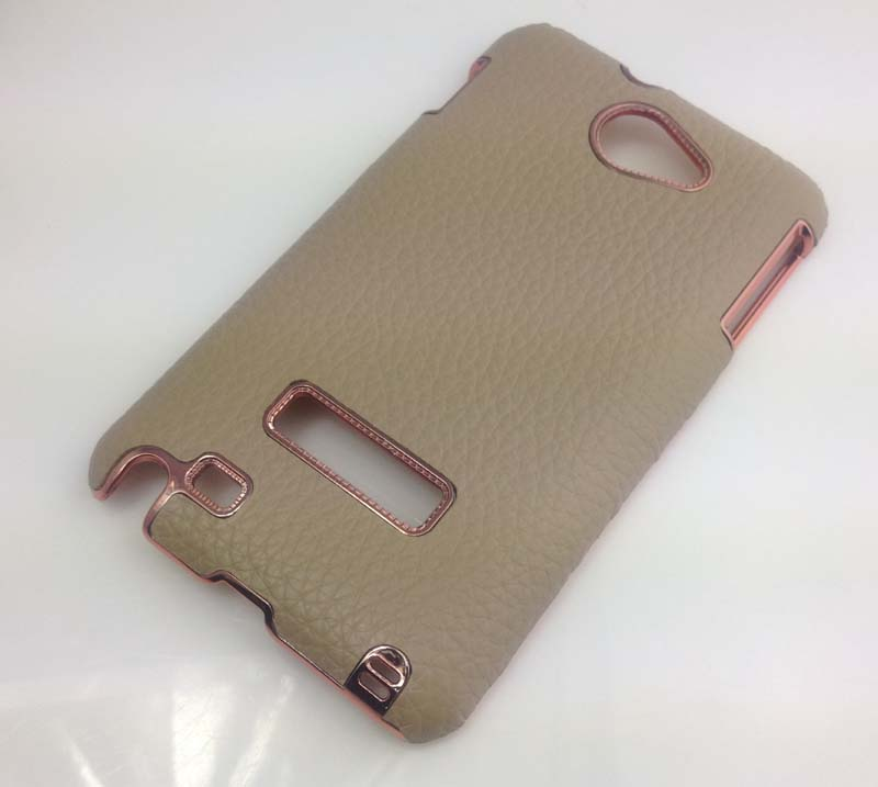 Leather Back Cover Hard Case for Samsung Galaxy Note i9220 - Brown
