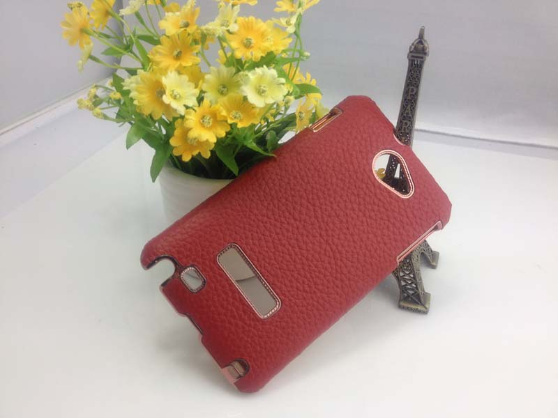 Leather Back Cover Hard Case for Samsung Galaxy Note i9220 - Dark Red