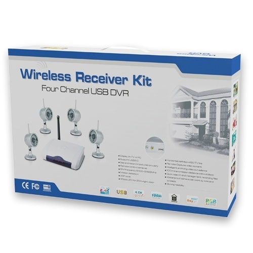 4-Channels 2.4GHz Wireless Receiver with 4 Cameras