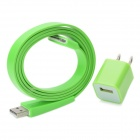 USB Sync/Charging Flat Cable + AC Power Adapter for iPhone 4 / 4S - Green (2-Flat-Pin Plug)