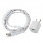 Simple Flat USB Sync/Charging Cable + AC Power Adapter for iPhone 4 4S - White(2-Flat-Pin Pl