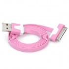 Flat USB Data & Charging Cable for iPhone / iPad - Pink + White