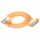 Flat USB Data & Charging Cable for iPhone / iPad - Orange + White
