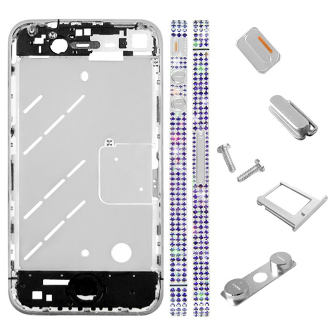 for iPhone 4S Middle Plate - Silver + Blue Diamond