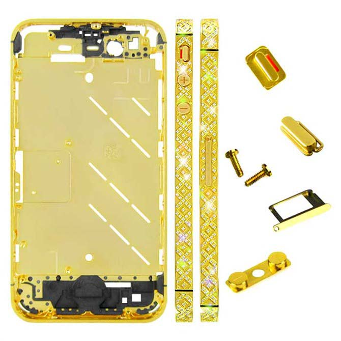 for iPhone 4S Middle Plate - Golden + Cross Pattern
