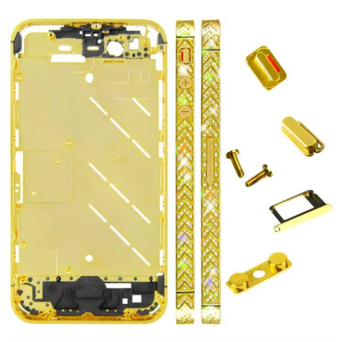 for iPhone 4S Middle Plate - Golden + White Arrow Pattern