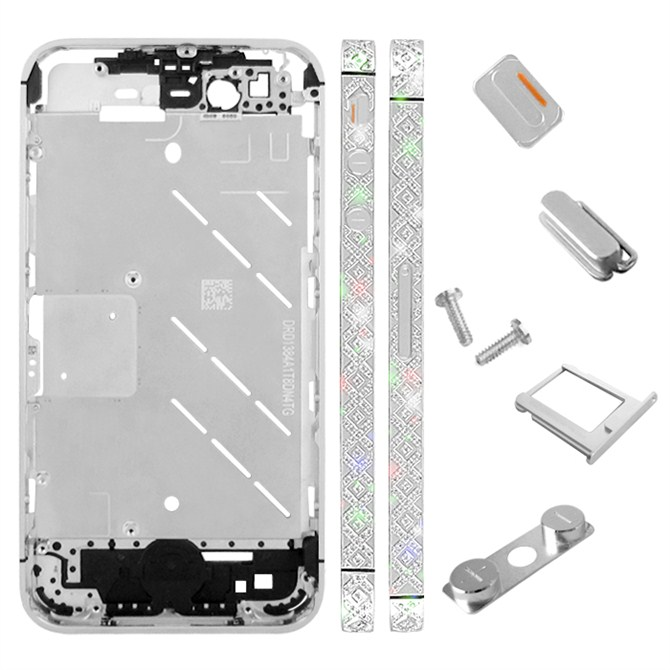for iPhone 4S Middle Plate - Silver + Cross Pattern
