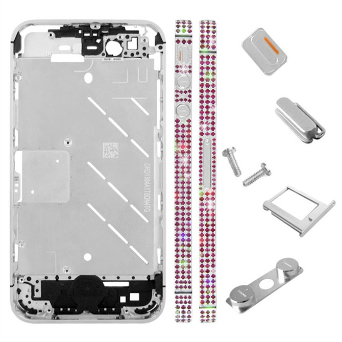 for iPhone 4S Middle Plate - Silver + Red