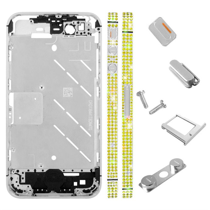 for iPhone 4S Middle Plate - Silver-yellow