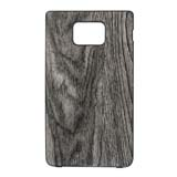 i9100 Wooden Design Leather Cover -Grey color