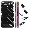for iPhone 4S Black Middle Plate w/ Diamond Stone Housing Kit - Black Red